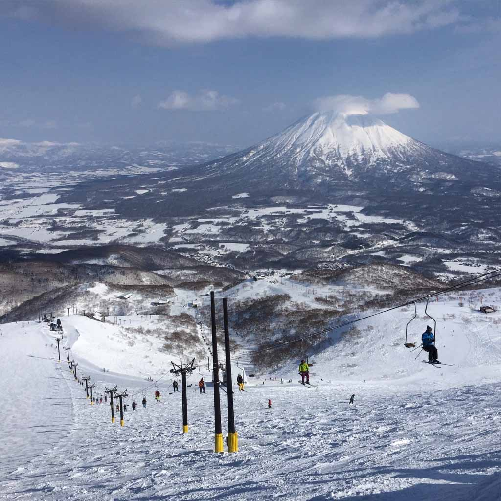 A single ski lift in Niseko Ski Resort, Japan