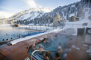 Unbeatable slopeside hot tub and pool.