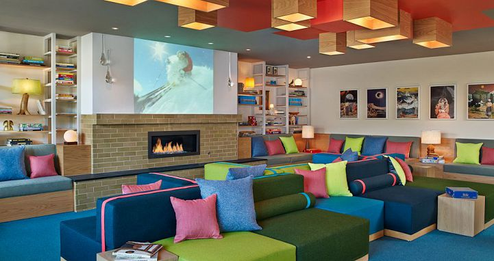 A hit with the kids, the multicoloured lounges are a great space to spend an afternoon. Photo: Wildwood Snowmass - image_3